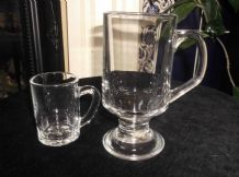 "2 CLEAR FRENCH GLASS TANKARDS 1 = 3"" MINI  & 1 = 5.5""  FOOTED BOTH GREAT COND"